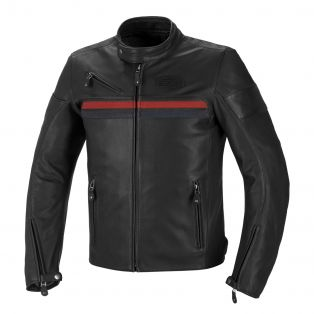 Cult leather motorcycle jacket Black/Ble/Red