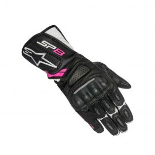 Stella SP-8 V2 women's motorcycle gloves Black/White/Fuchsia